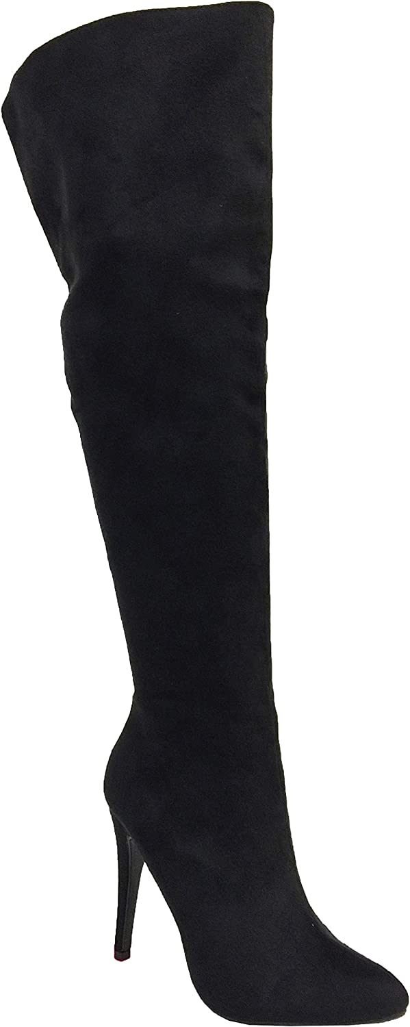 PAPRIKA Sandra  Women's Sexy Over The Knee Thigh High Faux Suede High Heel Stiletto Boots, Black Faux Suede 9 M US