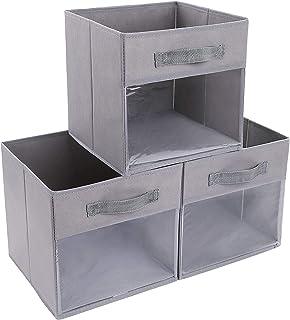 DIMJ Lot de 3 boîtes de rangement pliables avec fenêtre transparente et poignée renforcée en tissu pour armoire, placard, ...