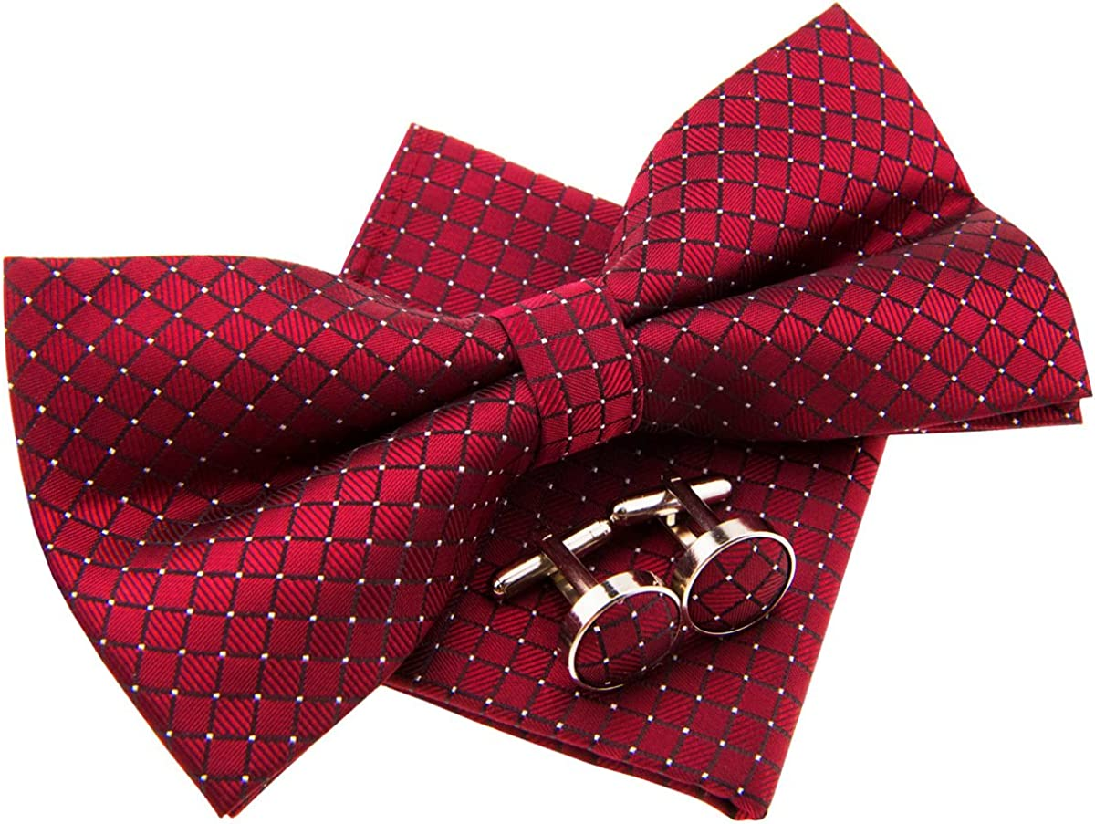 Check Textured Woven Pre-tied Bow Tie (5