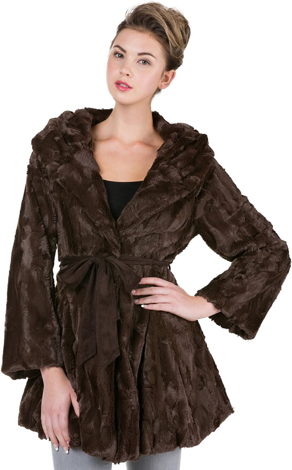 [Shop Lev] Melody Women's Faux Fur Jacket with Synthetic Swede Belt and Flare Sleeves