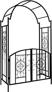 OUTOUR Elegant Garden Arch with Gate, Garden Arbor Trellis Arbour Archway for Climbing Plants Roses Vines Support Rack, Outdoor Garden Lawn Backyard Patio, Matte Black …