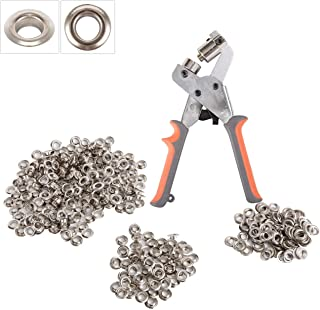 BIZOEPRO Handheld Grommets Punching Machine Manual Hole Punch Pliers Grommet Machine Hand Press Tool W/with 500 Silver Grommets of 3/8 Inch (10mm) Eyelets