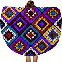 Semtomn 60 Inches Round Beach Towel Blanket Granny Squares Pattern and Ripples Afghan Crochet of Multicolored Travel Circle Circular Towels Mat Tapestry Beach Throw