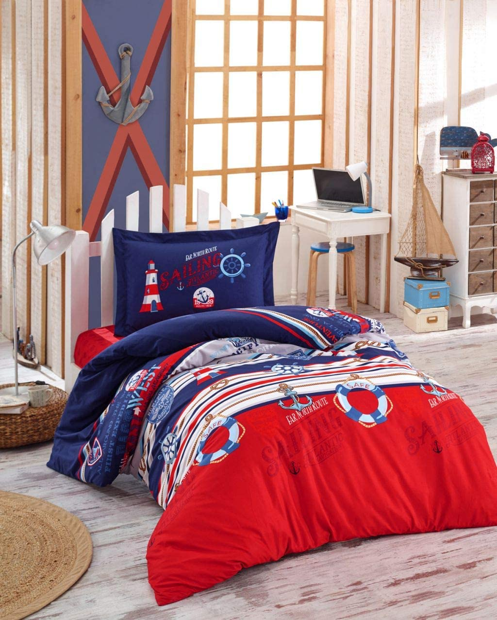 Amazon Com Paradise Ranforce 100 Cotton Nautical Bedding Set Lighthouse Themed Twin Size Quilt Duvet Cover Set Navy Blue Red Reversible Comforter Included 4 Pieces Home Kitchen