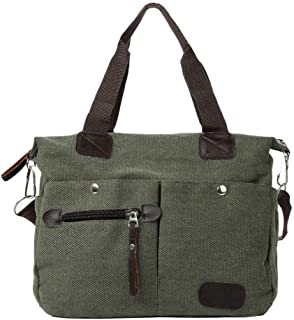 Downupdown Shoulder Bag Zipper Canvas Handbag Retro Men Women Canvas Large Capacity Unisex Solid Casual Versatile Shop