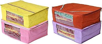 Kuber Industries 4 Piece Raw Silk Saree Cover (CTKTC2871)