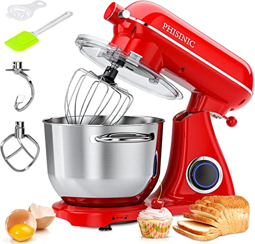 high quality PHISINIC Stand Mixer, 800W 6.5QT lowest Household Stand Mixers, 6 Speed online sale Tilt-Head Food Dough Mixer, Kitchen Electric Stand Mixer with Dough Hook/Wire Whip/Beater, for Butter, Cream, Meringue, Cookie (Red) sale