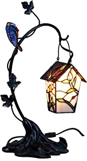 Bieye L10617 Bird House Hanging on The Branch Tiffany Style Stained Glass Accent Table Lamp, Night Light, 21 inch High