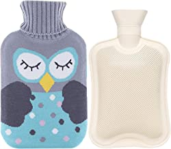 Rubber Hot Water Bottle Warmer Set 2 Liters,Heat Up and Refreezable Hot Cold Pack with Knit Cover for Pain Relief Hot Cold Therapy,Cartoon Owl
