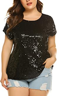 Women's Sequin Tops Plus Size Round Neck Sparkle Top Shimmer Glitter Short Sleeve T-Shirt Tunic Blouse