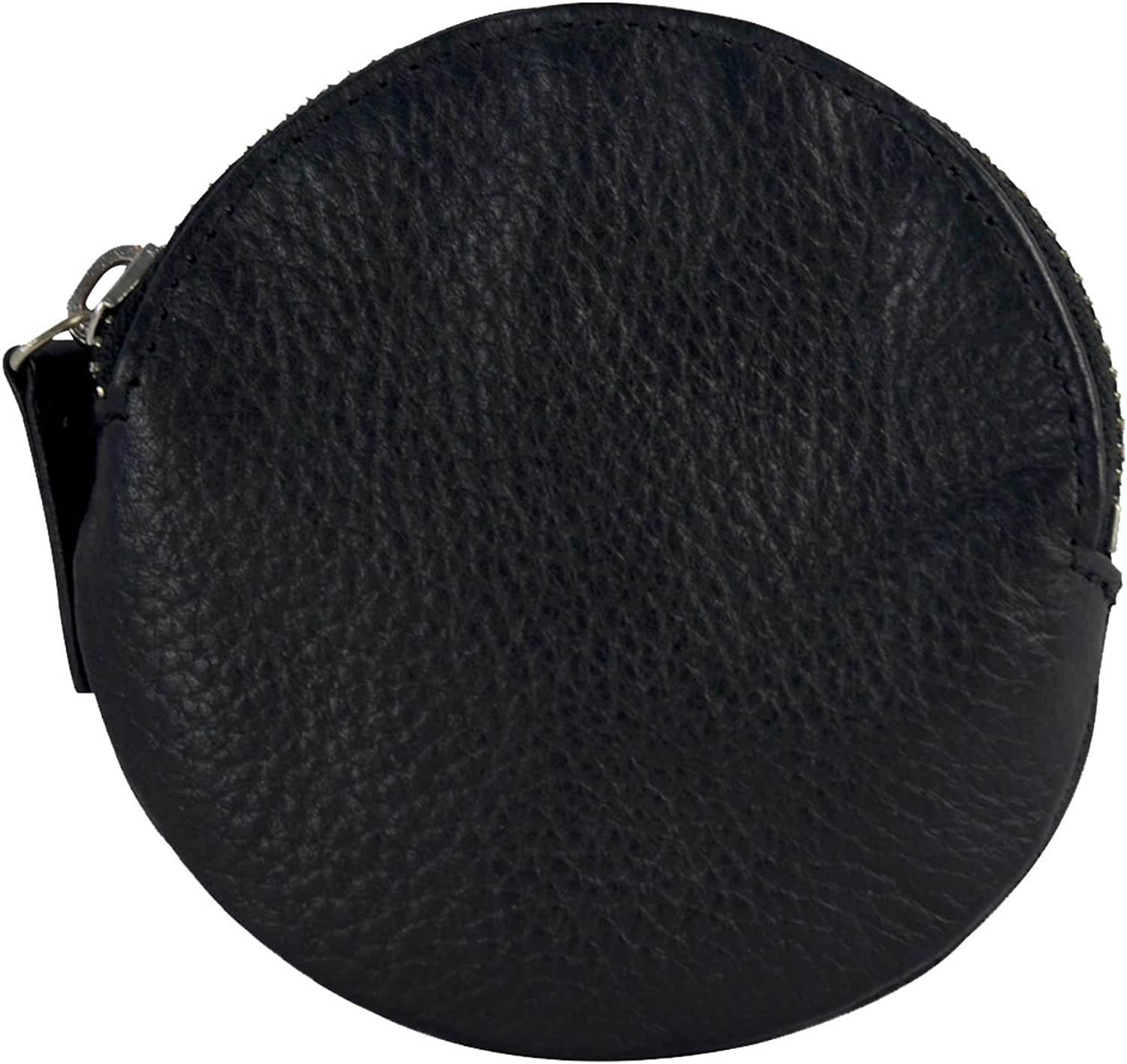 Genuine Leather Round Coin Pouch Change Purse with Zipper, Black