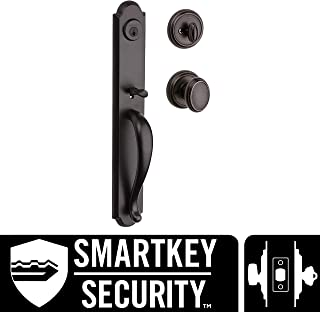 Baldwin Bighorn Single Cylinder Front Door Handleset Featuring SmartKey Security in Venetian Bronze, Prestige Series with Traditional Door Hardware and Carnaby Knob