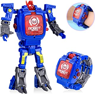 WOCY Toy Robot Watch,Children's Toy 2-in-1 Deformation Watch Toy Watch Robot, Educational Toy Game Watch, School Toy Gift. (Blue)