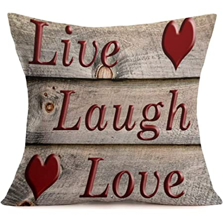 Amazon Com Fukeen Live Laugh Love Quotes Throw Pillow Cases Cotton Linen Vintage Wood Background With Red Sweet Heart Cushion Covers Standard 18 X18 Pillowslip Home Wedding Anniversary Decor Valentine S Day Home Kitchen