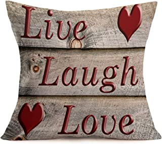 Smilyard Live Laugh Love Quote Pillow Covers Vintage Cotton LinenWood Grain Throw Pillowcase Heart Pattern Cushion Covers Square Decorative Outdoor Indoor Home 18x18 Inches (WQ 02)