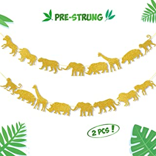Gold Jungle Safari Animal Banner Zoo Garland Baby Shower Boys Girls Birthday Party Supplies Decorations
