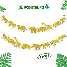 Gold Jungle Safari Animal Banner Zoo Garland Baby Shower Boys Girls Birthday Party Supplies Decorations