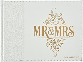 Christian Art Gifts Wedding Guest Book | Mr. and Mrs. Our Wedding White Faux Leather w/Inspirational Quotes Scripture | Vi...