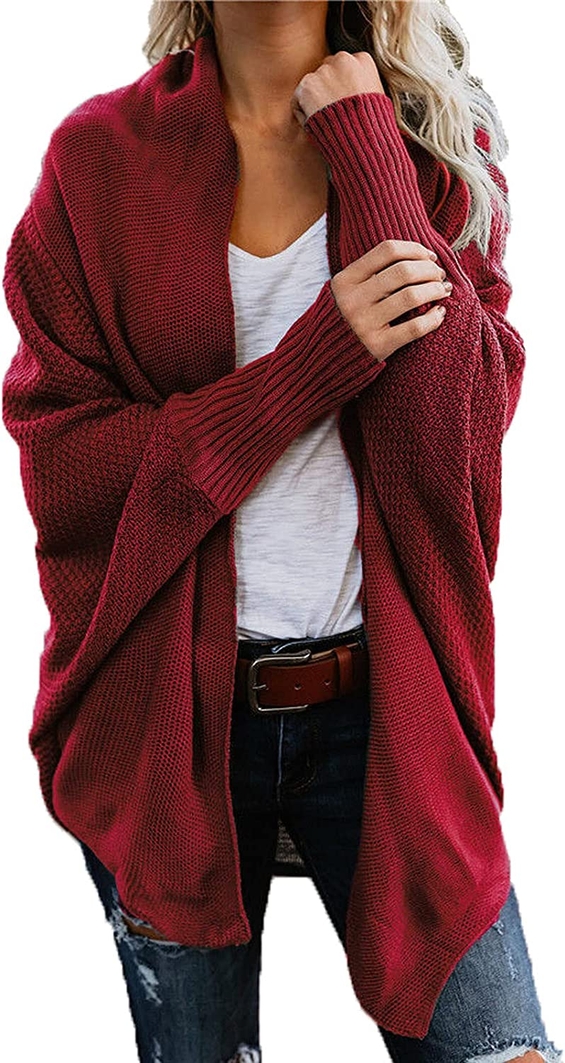 RFNIU Womens Red Cardigan Sweaters Fashion Solid Batwing Full Sleeve Open Front Kimono Casual Thin Outerwear Coat Tops