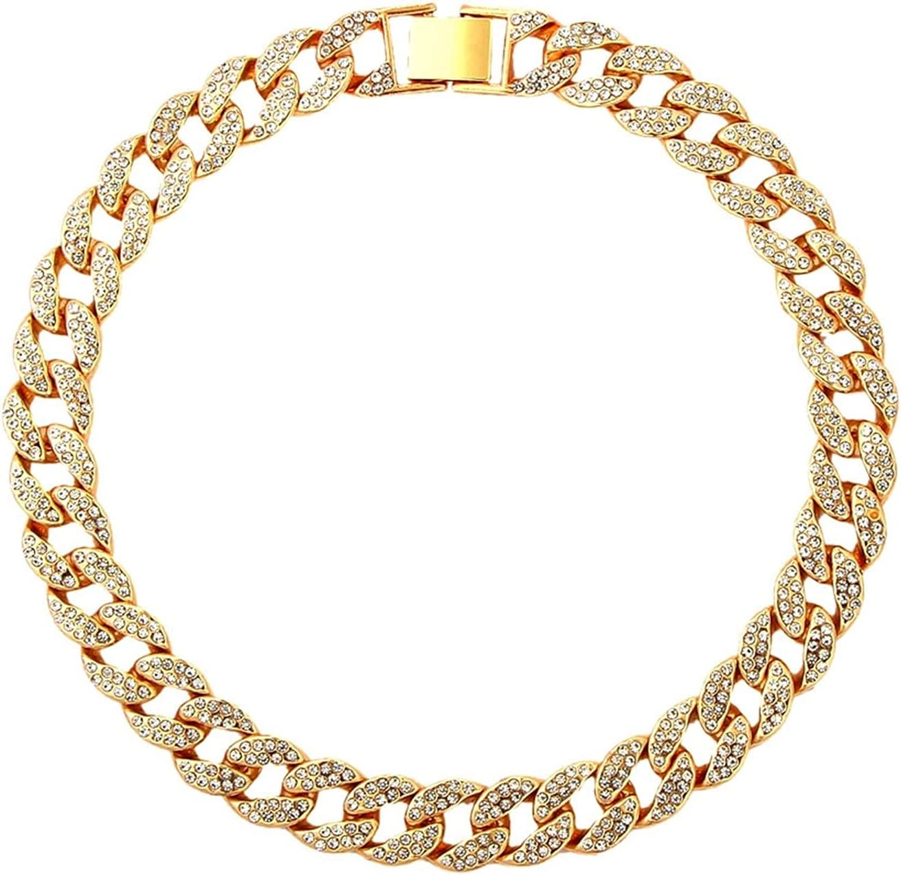 MJNYHGB Necklace 15mm Cuban Link Chains Necklace Fashion Hiphop Jewelry for Women Men Bling Iced Out Full Rhinestone Rapper Necklaces Collar Women Necklace (Metal Color : A047003GD)