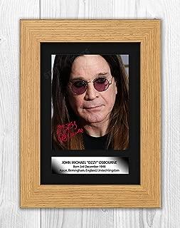 Engravia Digital Ozzy Osbourne (4) Black Sabbath A4 Poster with Reproduction Autograph Picture Photo A4 Print(Oak Frame)