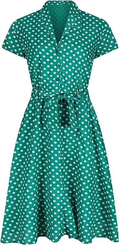 1940 Retro Vintage Estilo Verde Lunares Con Cinturón A Line Vestido Camisa