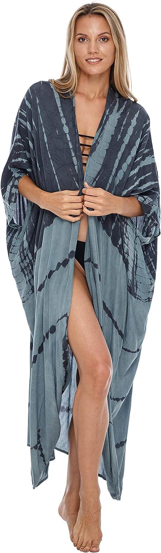 SHU-SHI Taglia Unica kimono con tintura a nodo Grigio Kimono lungo da donna