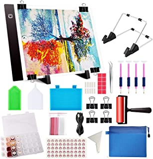 60 Pcs Diamond Painting Tools A4 LED Light Pad Kit, Diamond Art Light Board with 5D Painting Tools Kit, Supplies Includes ...