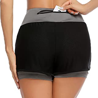 COOrun Women's Sports Workout Shorts Double Layer Running Shorts 2 in 1 with Back Pocket S-XXL