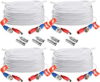 ZOSI 4 Pack 100ft (30 M) 2-in-1 Video Power Cable, BNC Extension Surveillance Camera Cables for Security Camera DVR Systems (White)