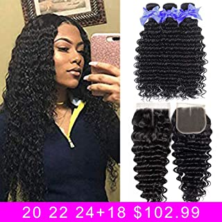 8A Deep Wave Hair 100% Unprocessed Virgin Human Hair Bundles With Middle Part 4x4 Lace Closure (20 22 24+18) Brazilian Deep Wave Weave Human Hair 3 Bundles With Closure shuangya hair