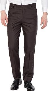 American-Elm Men Brown Cotton Solid Formal Trouser