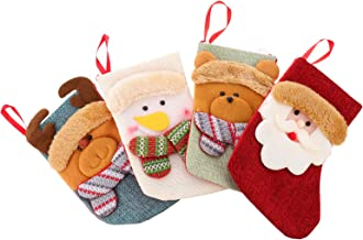Hemobllo 4Pcs Christmas Stockings Xmas Hanging Stockings Fireplace Hanging Ornament for Xmas Holiday Fireplace Home Deoor