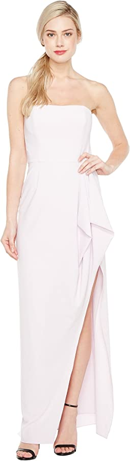 Halston Heritage - Strapless Notch Front Crepe Gown w/ Flounce