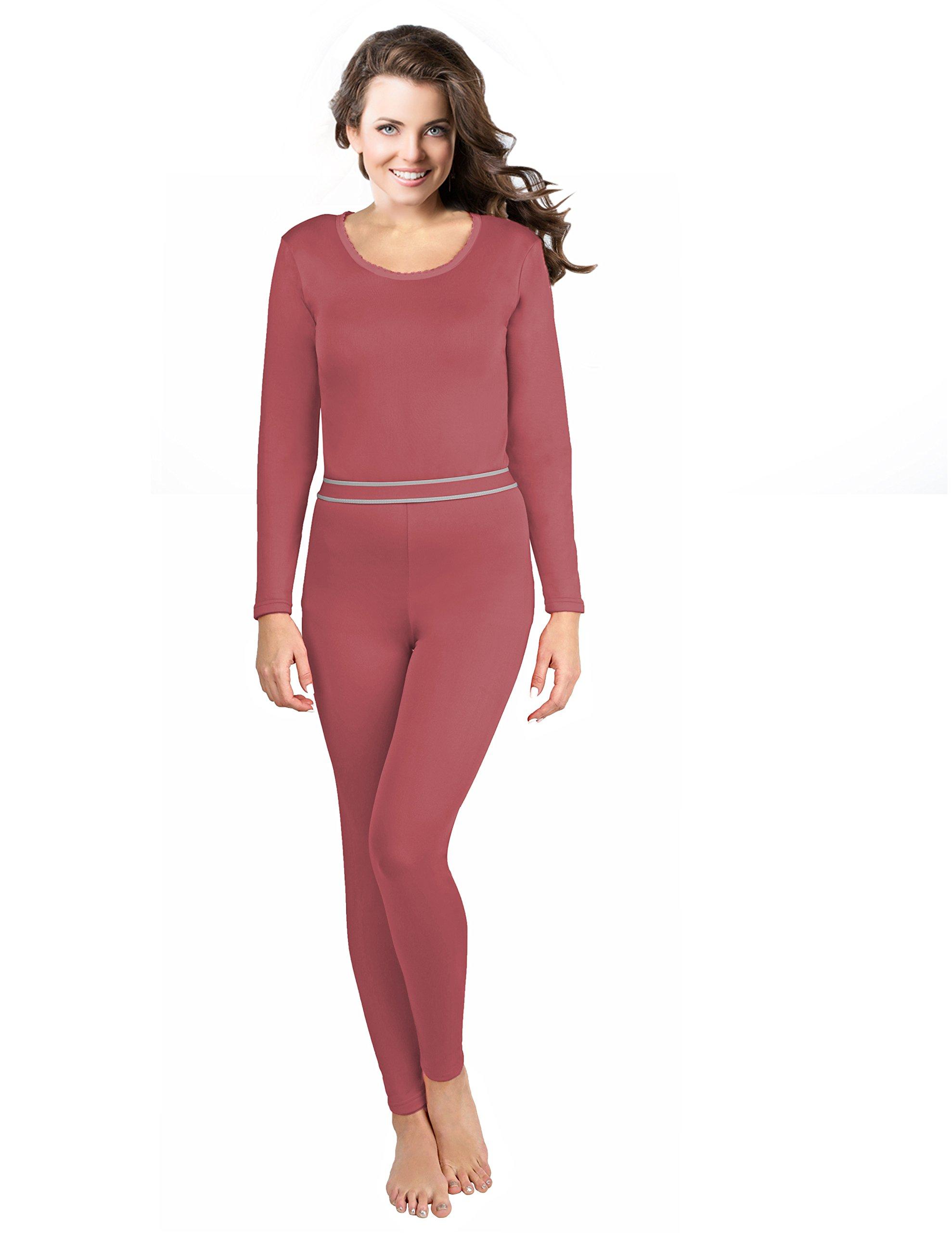 Rocky 女式 2 件超软保暖内衣,上衣和下装羊毛内衬长裤