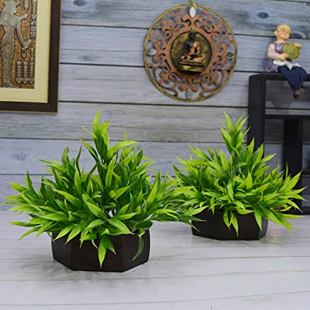 Fancy Mart Artificial Bamboo Leaves Plant (Size 7.5 Inchs/ 20 cms) With Wood Hexagun Pot (Set Of 2 Pots)-S20235-889