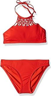 3c78387ae2 Hobie Big Girls' High Neck Bikini Top and Hipster Bottom Swimsuit Set