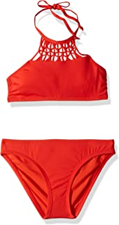 Hobie Girls' Big High Neck Bikini Top and Hipster Bottom Swimsuit Set