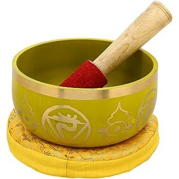 ShalinIndia Manipura Yellow Buddhist Singing Bowl - Tuned to the 3rd Chakra Solar Plexus Chakra - Fine Quality Brass - 5 Inches - Ideal for Meditations, Ayurveda & Yoga