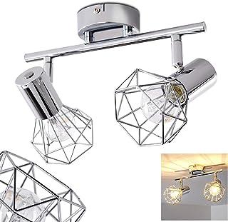 Lámpara de techo Orebro de metal cromado, 2 x E14 máx. 40 vatios con focos girables, ideal para el dormitorio y sala de estar.