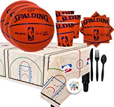 NBA Basketball Spalding Party Supplies Party Pack for 16 Guests with Spalding Plates, Cups, Full Cutlery Set, Napkins, Tab...