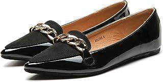 ASHLEY A فلورا أنيق براءات الاختراع بو مدبب راحة الانزلاق على الباليه أحذية مسطحة للنساء, (Black.1), 38 EU