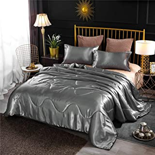 NTBED Luxury Satin Comforter Sets Gray Queen Lightweight Soft Microfiber Bedding Sexy Silky Wave Quilted Blanket Sets with 2 Matching Pillowcases (Grey, Queen)