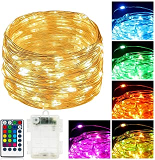 Multicolor Led Copper Fairy String Lights with Remote Control Battery Operated RGB & Warm White, Twinkling Long Fairy Ligh...