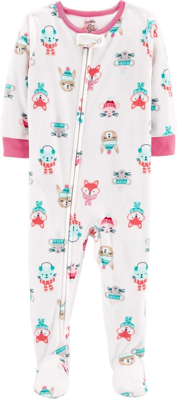 Carter's Baby Girl 1-Piece Winter Animals Fleece PJs