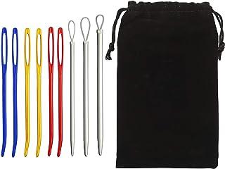 9本手縫針先曲げタイプ特殊針セット手芸裁縫編み物毛糸針ソーイング用品針穴の大きい針セット 収納袋付き