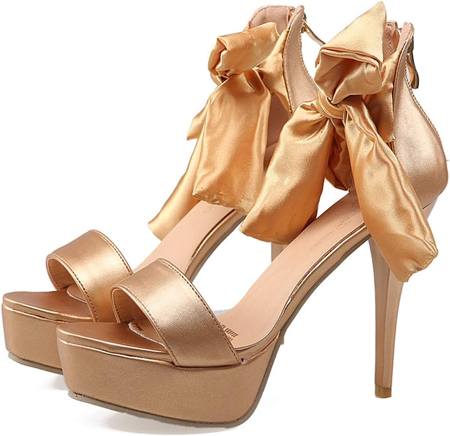 Woman gold Super High Thin Heels Ankle Strap Pumps Butterfly-Knot Zip Sandals for Women