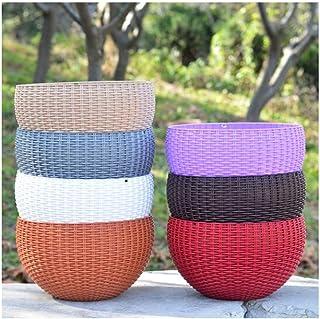 JSBHS Ceramic Breathable Purple Sand Flower Pot with Tray Flower Pot (Color : Off-White, Size : L)
