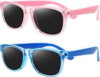 نظارات شمسية مستقطبة للأطفال الأولاد والبنات غير القابلة للكسر TR أزياء الأطفال الصغار (إطار وردي + أزرق)
