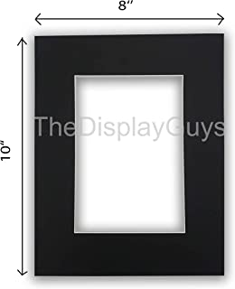 The Display Guys, Pack of 10pcs inch Acid-Free Black Pre-Cut Picture Mats White Core Bevel Cut Frame Mattes for Photo (8x10 Inch Black Mats)